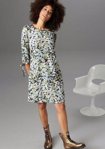 Aniston CASUAL Blusenkleid mit Bindeband an den 3/4-langen Ärmeln