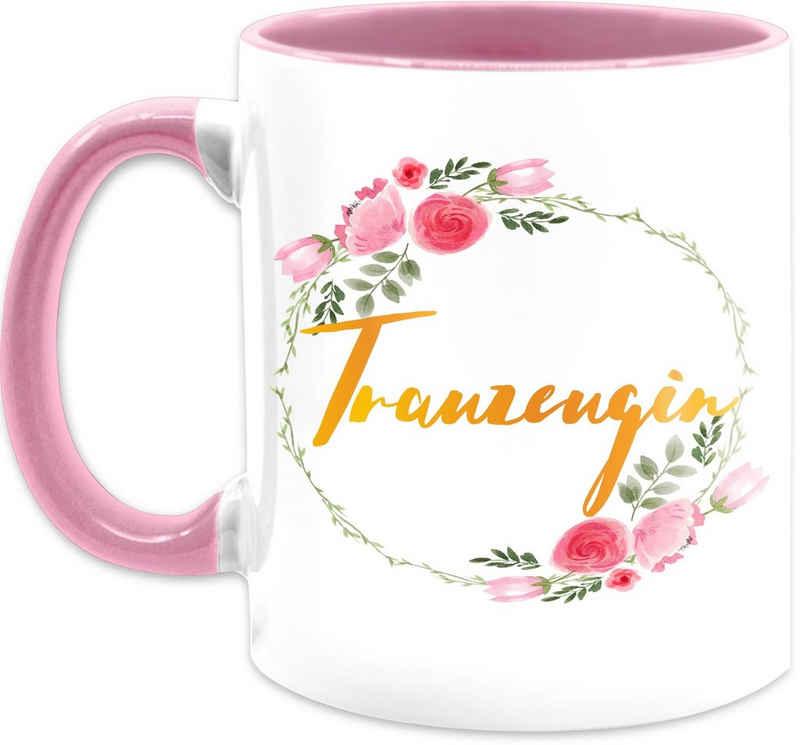 Shirtracer Tasse »Trauzeugin - Kaffeetasse mit Spruch - Tasse zweifarbig«, Keramik, Statement Teetasse