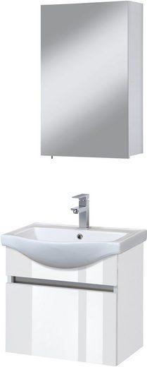 Badmöbel-Set »Dinar«, Premium Waschtisch und Spiegelschrank, Breite 55 cm, 3-tlg