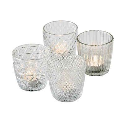 BOLTZE Teelichthalter »4tlg. Windlicht MARILU klar transparent Muster geriffelt aus Glas (4 Motive)«