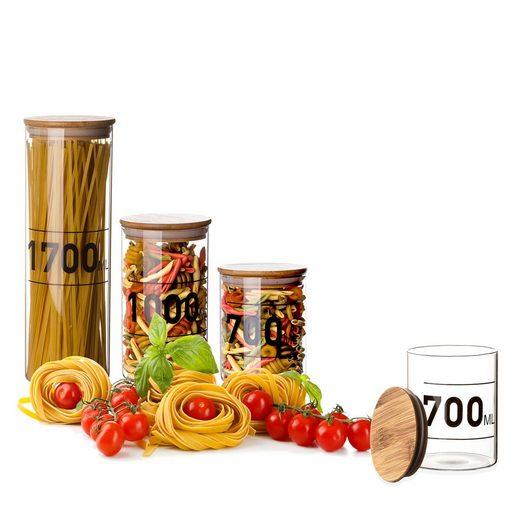 BigDean Vorratsdose »0,7 Liter Bambusdeckel Glas 700 ml Aufbewahrungsglas Lebensmittelglas Steckdeckel mit Dichtung«, Glas, (1-tlg)