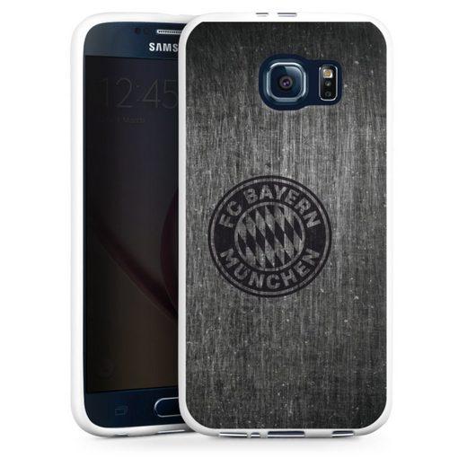 DeinDesign Handyhülle »Metalllook FCB Logo einfarbig« Samsung Galaxy S6, Hülle Metallic Look FCB FC Bayern München