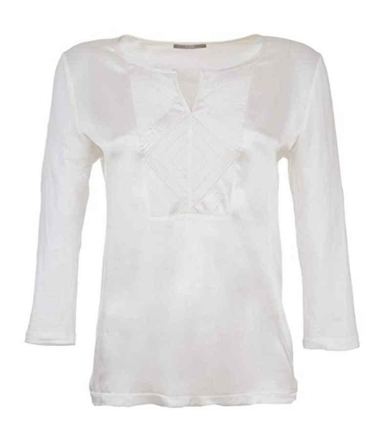 TUZZI Seidenbluse »TUZZI Seidenbluse elegante Damen Langarm-Bluse mit Jerseypatch Baumwoll-Bluse Weiß«