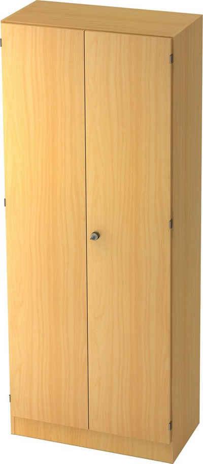 bümö Aktenschrank »OM-6100« Büroschrank, Flügeltürenschrank für Ordner, Akten & Bücher mit 5 Ordnerhöhen - Dekor: Buche/Buche