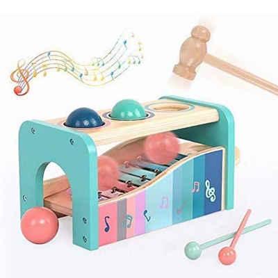 BeebeeRun Lernspielzeug »Frühe Melodien Xylophon Set und Holzhammer Spielzeug«, Musikspielzeug für Jungen und Mädchen