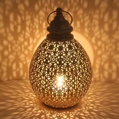 Casa Moro Laterne »Orientalische Laterne Omnia M in Shabby Chic Weiß Gold Höhe 36cm aus Metall, Marokkanisches Windlicht, hängend & stehend, Tischlaterne für Hochzeit Feier Dekoration Geschenk-Idee, IRL2010«