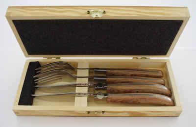 solex Steakbesteck »TORRO«, 4-teilig, Edelstahl 18/10, mit hellem Pakka-Holzgriff, in Holzbox