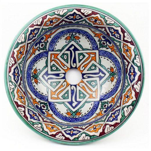 Casa Moro Waschbecken »Orientalisches Keramik-Waschbecken Fes50 Ø 35 cm rund bunt, Kunsthandwerk aus Marokko, Marokkanische Handwaschbecken handbemalt Aufsatzwaschbecken für Küche Badezimmer Gäste-Bad, WB352011«, Handmade
