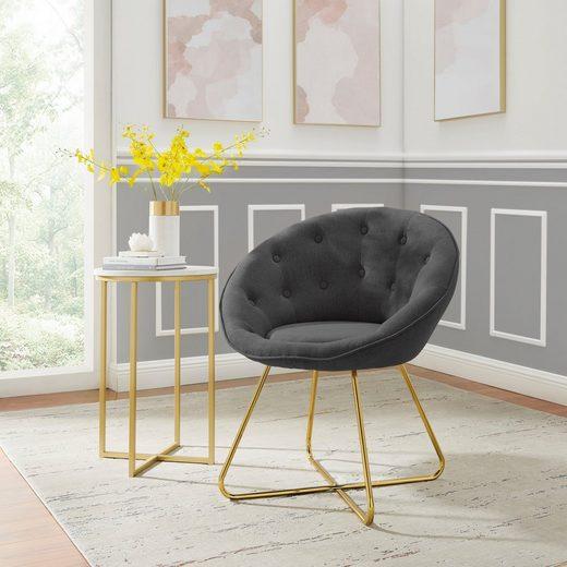 Leonique Loungesessel »Darcie« (1-St), mit festmontiertem Sitzkissen, Metallgestell in Chrom Gold, in verschiedenen Farbvarianten enthältlich, Sitzhöhe 46 cm