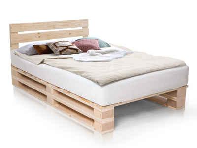 Moebel-Eins Massivholzbett, PALETTI DUO Massivholzbett / Palettenbett, inklusive Kopfteil
