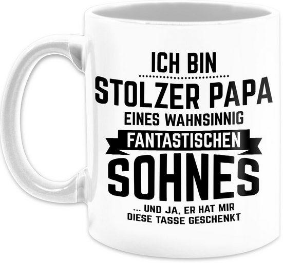 Shirtracer Tasse »Ich bin stolzer Papa eines wahnsinnig fantastischen Sohnes - Vatertagsgeschenk Tasse - Tasse zweifarbig«, Keramik