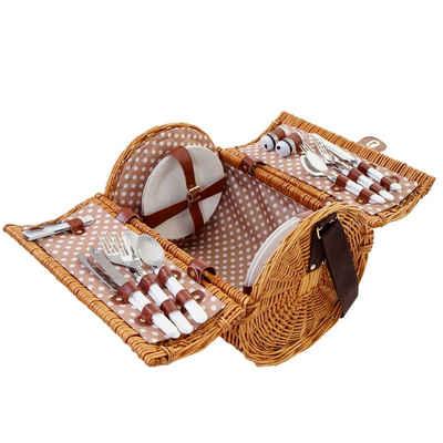 MCW Picknickkorb »T741«, Halterungen für alle Utensilien, Mit Tragegurt und Drehverschluss