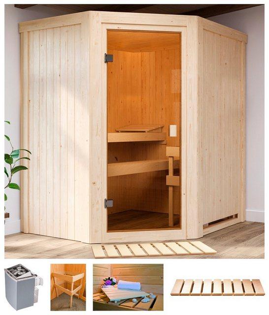 Saunen und Zubehör - Karibu Sauna »Fedder«, BxTxH 170 x 151 x 198 cm, 68 mm, 4,5 kW Ofen mit int. Strg.  - Onlineshop OTTO