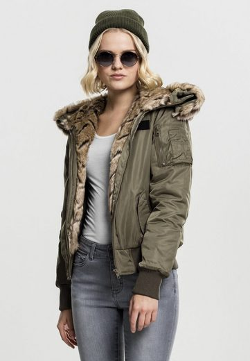 URBAN CLASSICS Trainingsjacke »Ladies Imitation Fur Bomber Jacket«