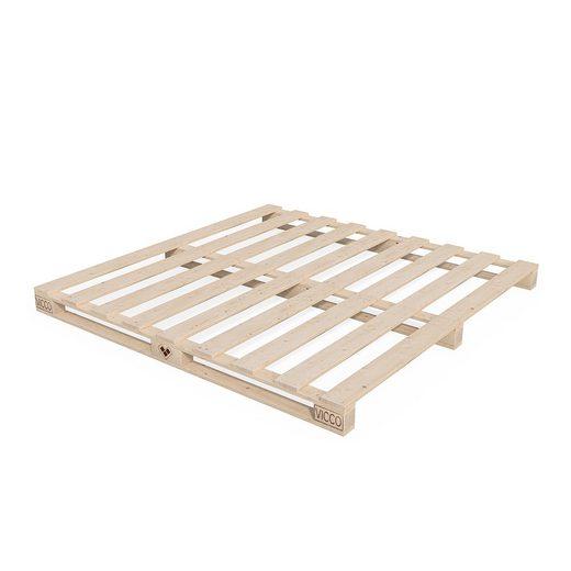 VitaliSpa® Massivholzbett »Palettenbett Bett Massivholzbett Holzbett Futonbett Palettenmöbel 200x200«