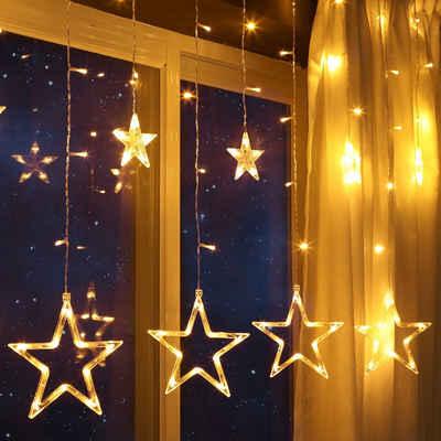 GlobaLink LED-Lichterkette »12 Sterne 108 LEDs LED Lichtervorhang«, 138-flammig, GlobaLink 2m Lichtervorhang Weihnachten erweiterbar, 138 LEDs Sternenvorhang Weihnachtsbeleuchtung mit 12 Sterne 8 Modi Wasserdicht IP44 für Innen und Außen Kinderzimmer Fenster Weihnachten Deko