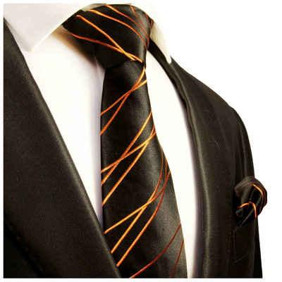 Paul Malone Krawatte »Herren Seidenkrawatte mit Tuch modern gestreift 100% Seide« (Set, 2-St., Krawatte mit Einstecktuch) Breit (8cm), schwarz orange 359