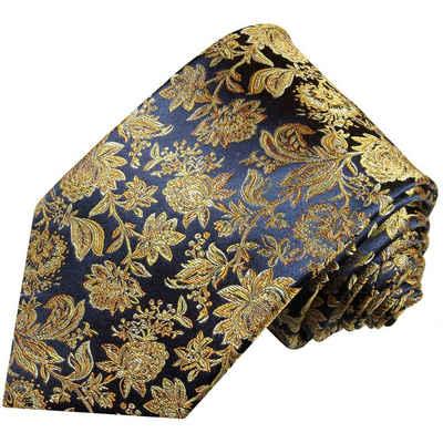 Paul Malone Krawatte »Herren Seidenkrawatte Schlips modern floral 100% Seide« Breit (8cm), dunkelblau gold braun 683