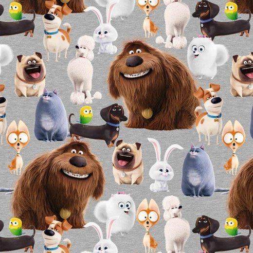 larissastoffe Stoff »French Terry, Sommersweat Pets Hunde Mops Dackel«, Stoffe zum Nähen, Meterware, 50 cm x volle Breite