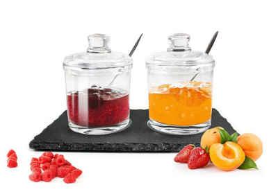 Sendez Marmeladenglas »2 Marmeladendosen auf Schieferplatte Parmesandosen Gewürzdosen Set Honigdose Dose«