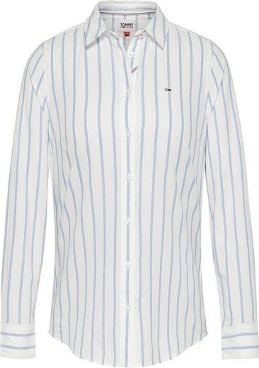 Tommy Jeans Hemdbluse »TJW SLIM OXFORD STRIPE SHIRT« mit Tommy Jeans Logo-Flag auf der Brsut