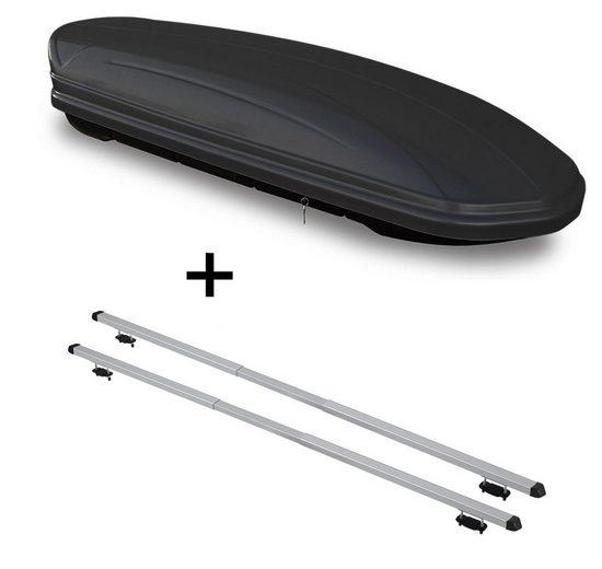 VDP Fahrradträger, Dachbox VDPMAA460 460Ltr schwarz matt abschließbar + Dachträger RAPID kompatibel mit Subaru Forester (SJ) (5Türer) ab 13
