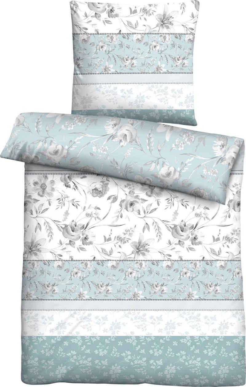 Bettwäsche »Yusuf«, Biberna, mit floralen Streifen