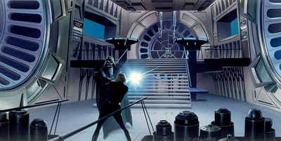 Komar Fototapete »Star Wars Classic RMQ Duell Throneroom«, glatt, futuristisch, mehrfarbig, Weltall, (Packung)