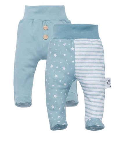 Makoma Schlupfhose »Baby Hose mit Fuß Strampelhose Sweathose für Neugeborene Jungen & Mädchen -Sweet Dreams-« (Set, 2er-Pack) 100% Baumwolle