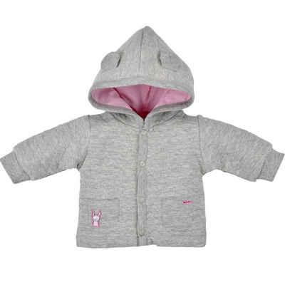 BONDI Shirtjacke »Wattierte Baby Newborn Kapuzenjacke mit Herzallover, 93630 Grau« Wattiert