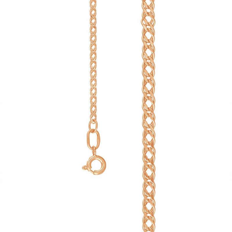 Zolotoy Goldkette »Halskette Rombo 20512040 585er Rosegold Diamantiert Flach« (1-tlg., inkl. Schmuckbox), Rhodiniert, Hergestellt in Russland