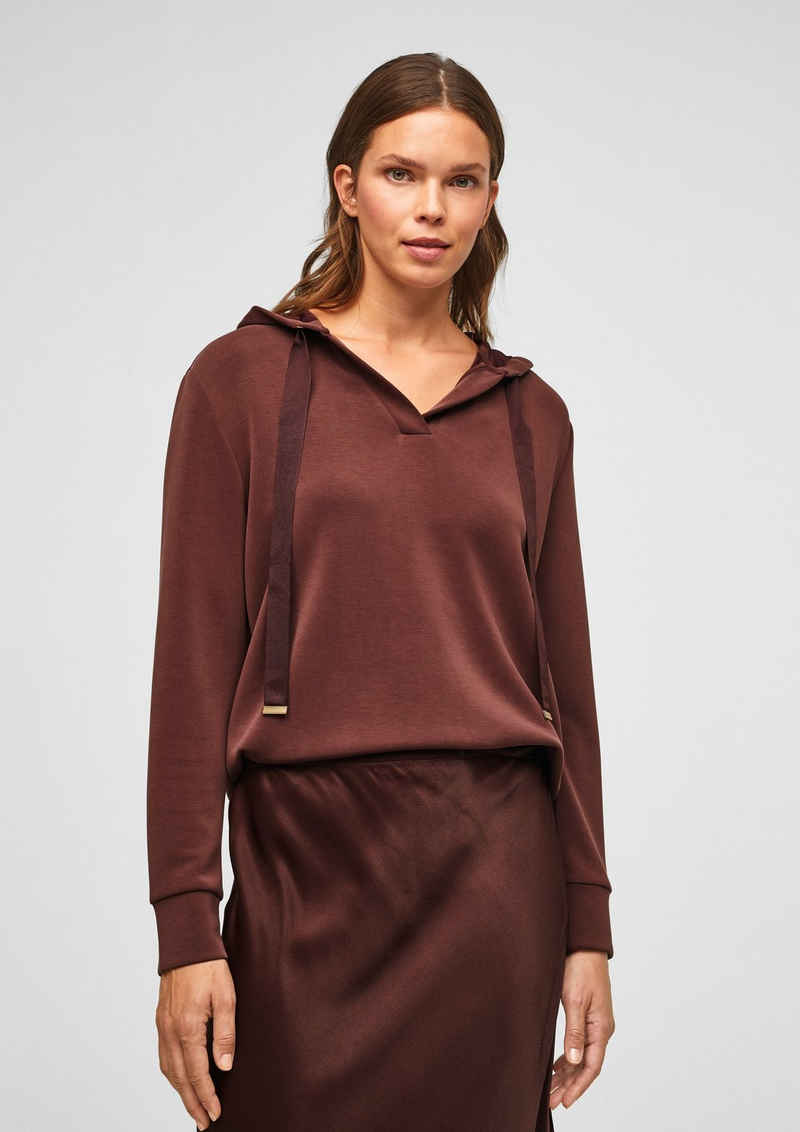 s.Oliver BLACK LABEL Sweatshirt »Kapuzensweater aus Scuba-Jersey« (1-tlg) Ziernaht, Blende, Durchzugkordel