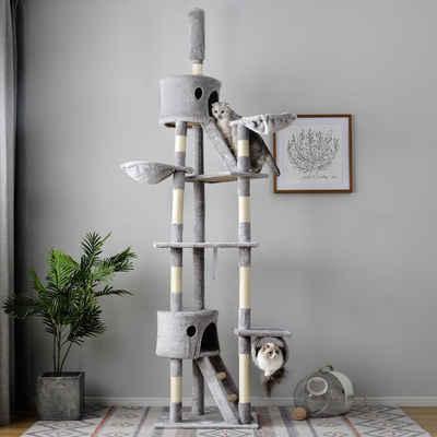Flieks Kratzbaum »PURELOVE«, Mehrstöckiger höhenverstellbarer Katzenbaum mit Leiter, Spielhaus für Katzen, 260x61x46cm