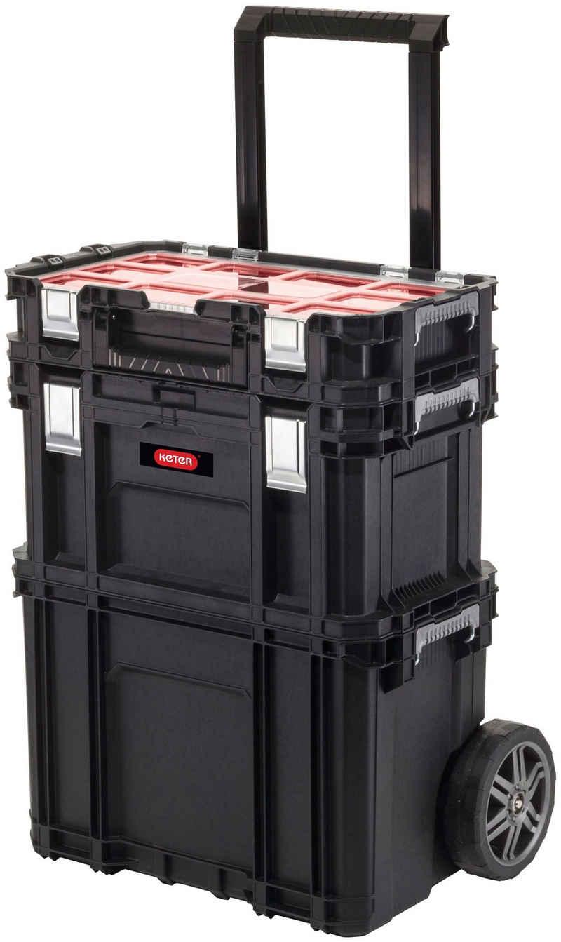 """Keter Werkzeugtrolley »Rolling«, 3-teiliges System, 7"""" Gummiräder, Teleskopgriff, mit Connect Werkzeugkasten & Connect Sortimentskasten"""
