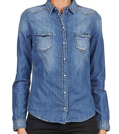 Pepe Jeans Hemdbluse »Pepe Jeans Rosetta Hemd-Bluse schönes Damen Jeans-Hemd Freizeit-Bluse mit Brusttaschen Slim Fit Blau«