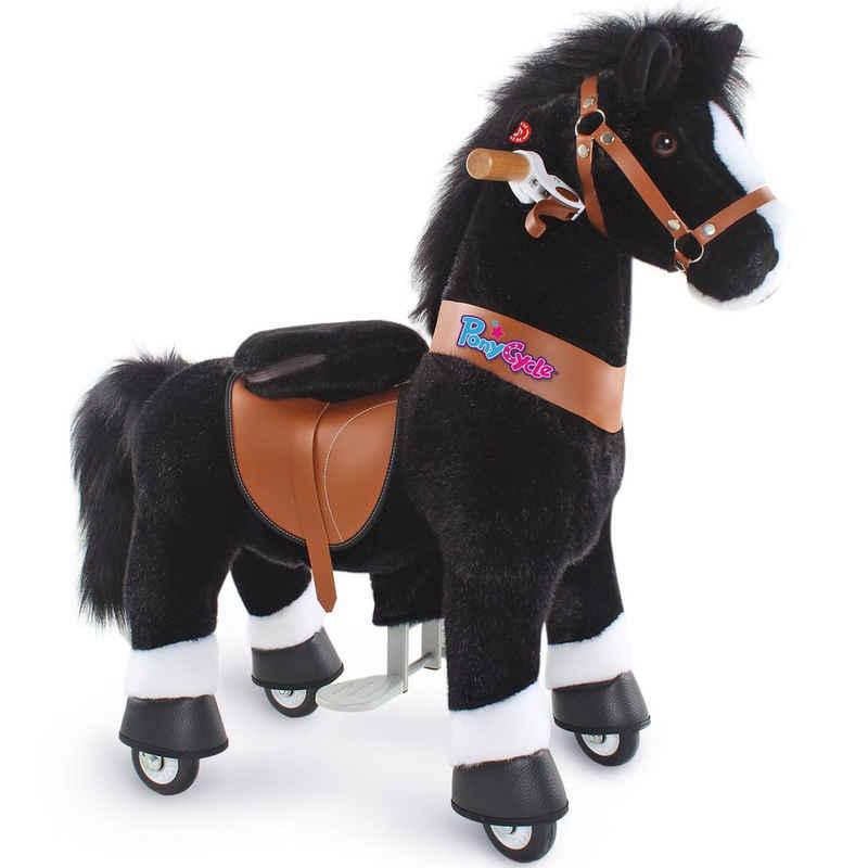 PonyCycle Reitpferd »Modell U 2021 Reiten auf Pferd Spielzeug Plüsch Lauftier - Schwarz Pferd mit Bremse und Ton«, U3 für 3-5 Jahre, Ux326, PonyCycle® Offizieller Shop