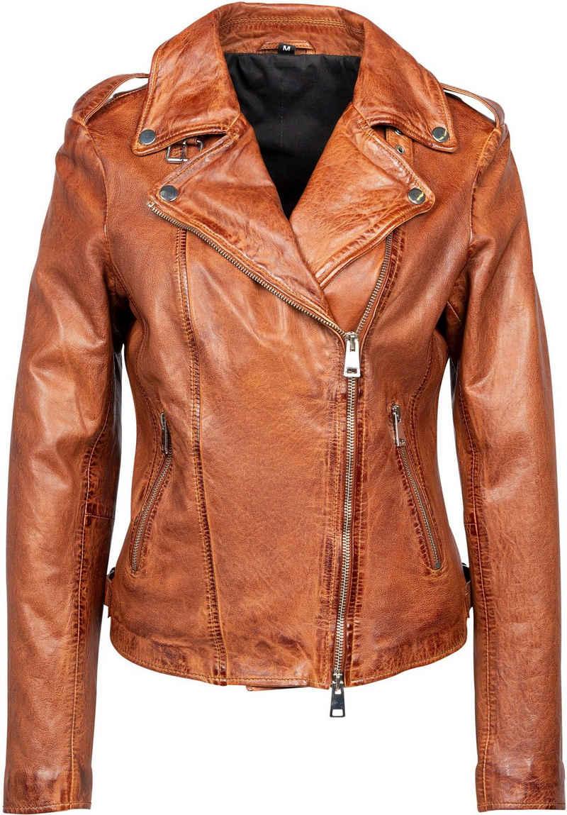 Freaky Nation Lederjacke »New Undress Me!-FN« Bikerjacke mit coolen Zipper-Details