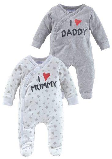 Klitzeklein Schlafanzug »I love Mummy / I love Daddy, Druck« (Set, 2-tlg) aus Bio-Baumwolle
