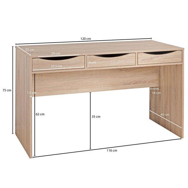 Kindertische - Wohnling Schreibtisch »WL1.791«, SAMO 120 cm Design Büro Tisch in Sonoma Eiche Moderner Computer Tisch mit 3 Schubladen und Stauraum Platzsparender Jugend auch für Laptop geeignet  - Onlineshop OTTO