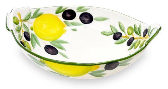 Lashuma Obstschale »Zitrone Olive«, Keramik, Große Keramikschüssel, Servierschale 27x21 cm
