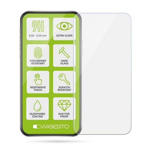 Wigento Handyhülle »2x 2.5D 0,26 mm H9 Hart Glas Schock Folie für Samsung Galaxy A70 6,7 Zoll Schutz Zubehör Glas Neu«