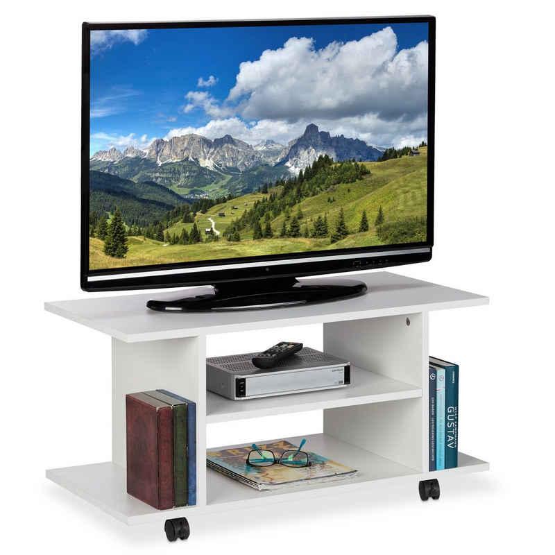 relaxdays TV-Regal »TV Board mit Rollen weiß«