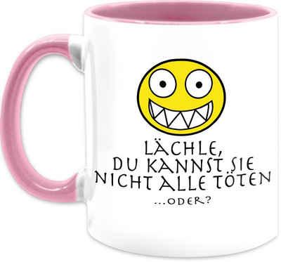 Shirtracer Tasse »Emoticon - Lächle du kannst sie nicht alle töten - Kaffeetasse mit Spruch - Tasse zweifarbig«, Keramik, Statement Teetasse