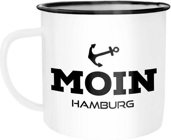 MoonWorks Tasse »Emaille Tasse Becher Moin Hamburg Anker Kaffeetasse Moonworks®«, emailliert und mit Aufdruck