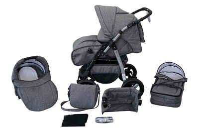 Clamaro Kombi-Kinderwagen, Kombikinderwagen Milo, Baby, Buggy, 3in1 Set mit Babyschale 0-13Kg für Isofix