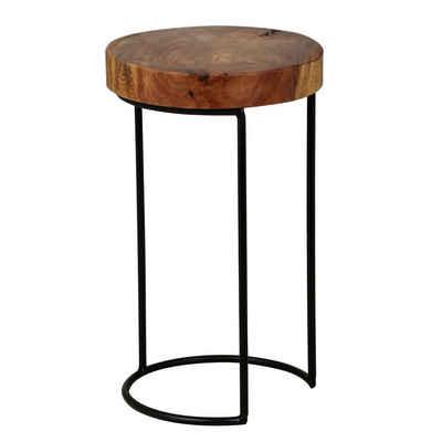 Wohnling Beistelltisch »WL1.554«, AKOLA Massiv-Holz Sheesham Wohnzimmer-Tisch Metallbeine Landhaus-Stil Baumstamm-Form Echt-Holz Natur (FSC® Mix)