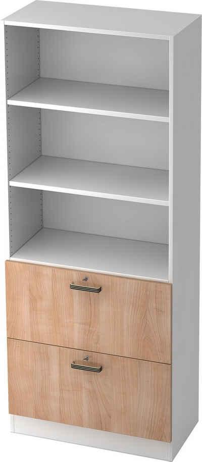 bümö Hängeregisterschrank »OM-7300« abschließbar Hängeregistratur-Regal Schrank Kombi, Büroschrank - Dekor: Weiß/Nussbaum