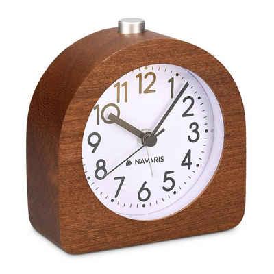 Navaris Reisewecker Analog Holz Wecker mit Snooze - Retro Uhr Halbrund mit Ziffernblatt Alarm Licht - Leise Tischuhr Ohne Ticken - Naturholz