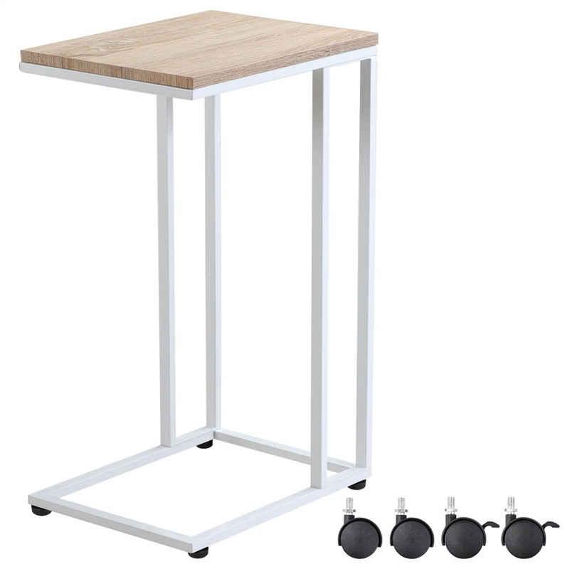 Casaria Beistelltisch, Sofatisch mit Rollen Kaffeetisch Wohnzimmer Nachttisch Laptoptisch Tisch Holz Metall Stabil - Weiß