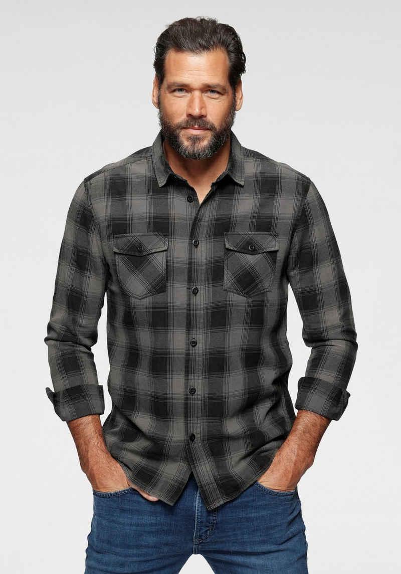Arizona Langarmhemd im trendigem Karo und Brusttaschen